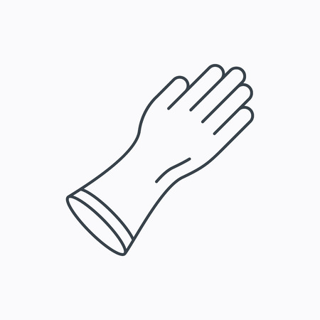 cleaning equipment: Rubber gloves icon. Latex hand protection sign. Housework cleaning equipment symbol. Linear outline icon on white background. Vector