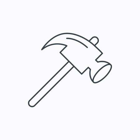 mat�riel chantier: Hammer icon. Repair or fix sign. Construction equipment tool symbol. Linear outline icon on white background. Vector