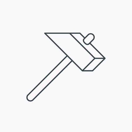 mat�riel chantier: Marteau ic�ne. R�parer ou fixer signe. Les �quipements de construction symbole de l'outil. Linear ic�ne de contour sur fond blanc. Vecteur