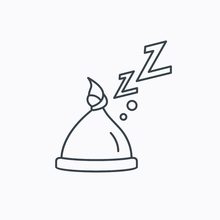 nodule: Baby hat with nodule icon. Newborn cap sign. Toddler sleeping clothes symbol. Linear outline icon on white background. Vector