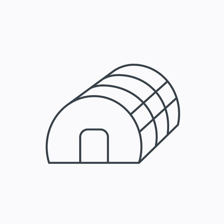 hothouse: Greenhouse complex icon. Hothouse building sign. Warm house symbol. Linear outline icon on white background. Vector