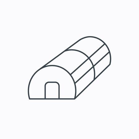 warm house: Greenhouse complex icon. Hothouse building sign. Warm house symbol. Linear outline icon on white background. Vector