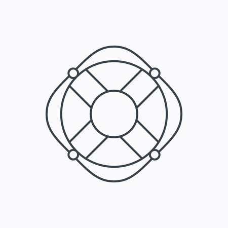 Lifebuoy with rope icon. Lifebelt sos sign. Lifesaver help equipment symbol. Linear outline icon on white background. Vector Illustration
