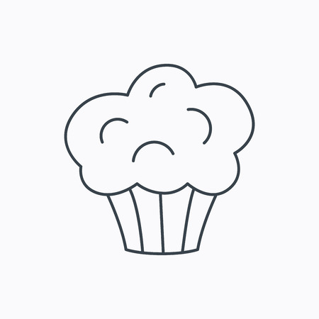Muffin icon. Cupcake dessert sign. Bakery sweet food symbol. Linear outline icon on white background. Vector