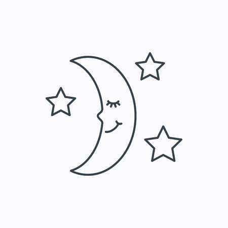 moonbeam: Night or sleep icon. Moon and stars sign. Crescent astronomy symbol. Linear outline icon on white background. Vector Illustration