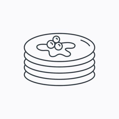 maple syrup: Panqueques icono. Signo desayuno americano. Alimentos con el s�mbolo de jarabe de arce. Icono de contorno lineal sobre fondo blanco. Vector