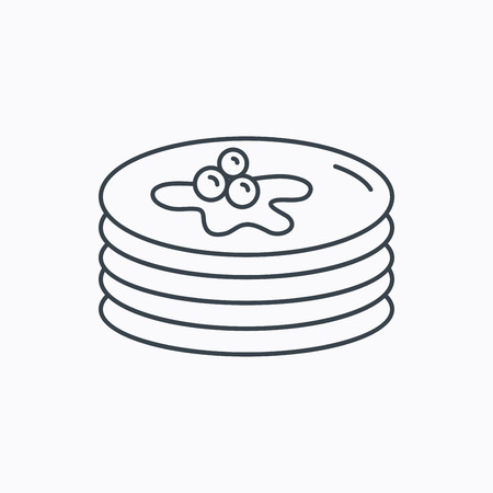 Pancakes icon. American breakfast sign. Food with maple syrup symbol. Linear outline icon on white background. Vector Illustration