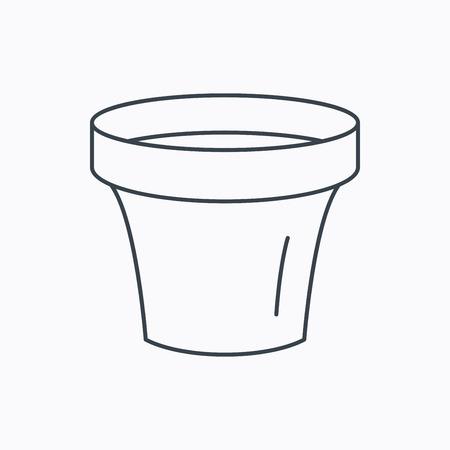 ceramic: Icono de maceta de flores. Jardiner�a signo recipiente de cer�mica. Icono de contorno lineal sobre fondo blanco. Vector Vectores