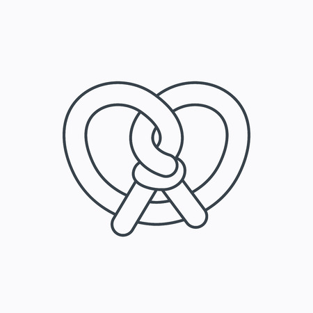 Pretzel icon. Bakery food sign. Traditional bavaria snack symbol. Linear outline icon on white background. Vector