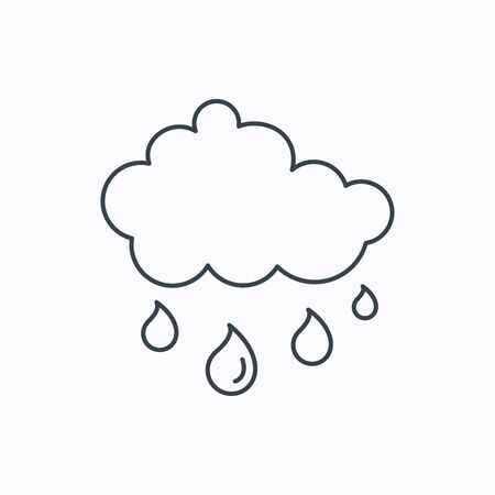 overcast: Rain icon. Water drops and cloud sign. Rainy overcast day symbol. Linear outline icon on white background. Vector Illustration