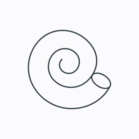mollusk: Sea shell icon. Spiral seashell sign. Mollusk shell symbol. Linear outline icon on white background. Vector