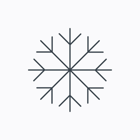 Snowflake icon. Snow sign. Air conditioning symbol. Linear outline icon on white background. Vector Ilustração