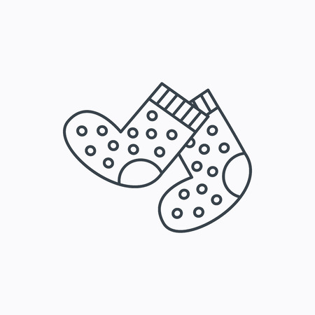 baby underwear: Socks icon. Baby underwear sign. Clothes symbol. Linear outline icon on white background. Vector
