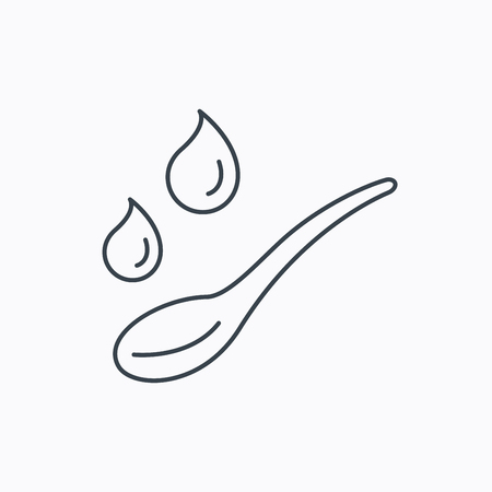 dose: Spoon with water drops icon. Baby medicine dose sign. Child food symbol. Linear outline icon on white background. Vector