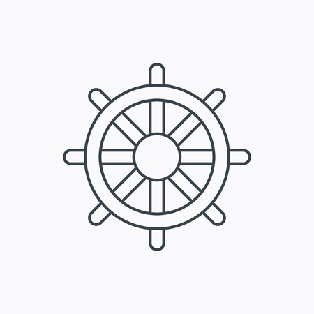 rudder ship: Ship steering wheel icon. Captain rudder sign. Sailing symbol. Linear outline icon on white background. Vector