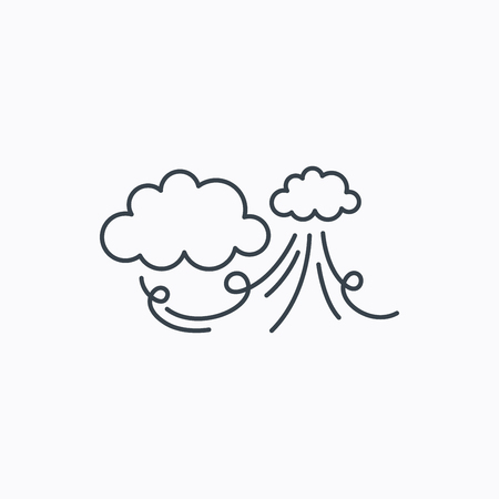the tempest: Wind icon. Cloud with storm sign. Strong wind or tempest symbol. Linear outline icon on white background. Vector