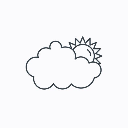 overcast: Sunny day icon. Summer sign. Overcast weather symbol. Linear outline icon on white background. Vector Illustration