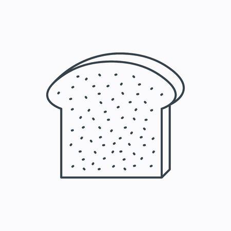 comiendo pan: Icono de la tostada. Rodajas de signo pedazo de pan. S�mbolo de la panader�a. Icono de contorno lineal sobre fondo blanco. Vector Vectores