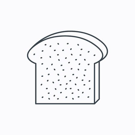 loaf of bread: Toast icon. Sliced bread piece sign. Bakery symbol. Linear outline icon on white background. Vector