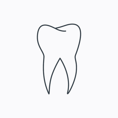 stomatology: Tooth icon. Dental stomatology sign. Dentistry symbol. Linear outline icon on white background. Vector