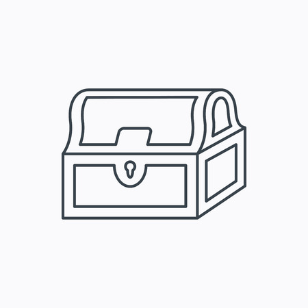 treasury: Treasure chest icon. Piratic treasury sign. Wealth symbol. Linear outline icon on white background. Vector Illustration
