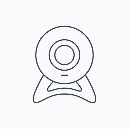 web cam: Web cam icon. Video camera sign. Online communication symbol. Linear outline icon on white background. Vector