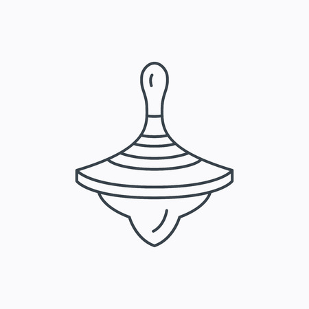 Icona Whirligig. Bambino giocattolo segno. Spinning simbolo top. Icona contorno lineare su sfondo bianco. Vettore
