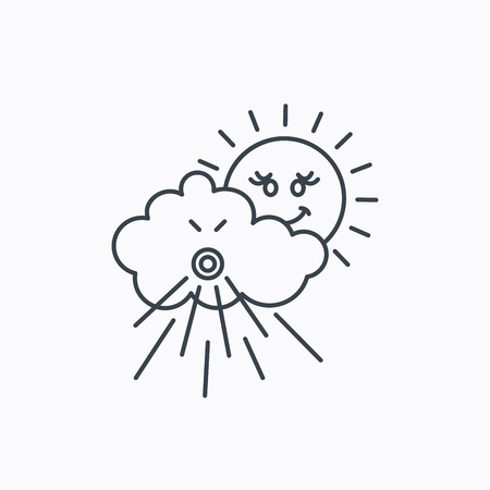 the tempest: Wind icon. Cloud with sun and storm sign. Strong wind or tempest symbol. Linear outline icon on white background. Vector