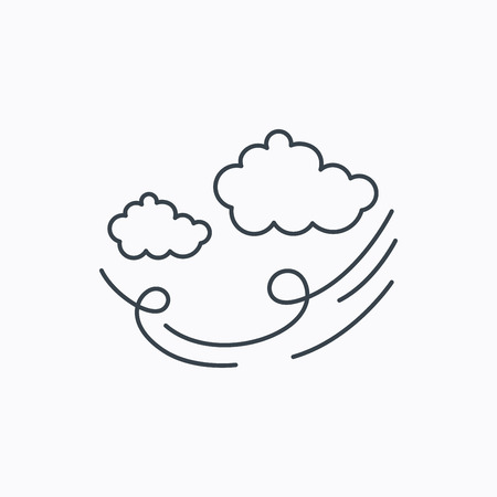 Wind icon. Cloud with storm sign. Strong wind or tempest symbol. Linear outline icon on white background. Vector