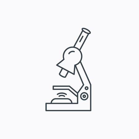 criminology: Microscope icon. Medical laboratory equipment sign. Pathology or scientific symbol. Linear outline icon on white background. Vector