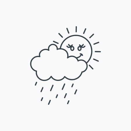 overcast: Rain and sun icon. Water drops and cloud sign. Rainy overcast day symbol. Linear outline icon on white background. Vector Illustration