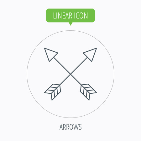 darts flying: Bow arrows icon. Hunting sport equipment sign. Archer weapon symbol. Linear outline circle button. Vector Illustration