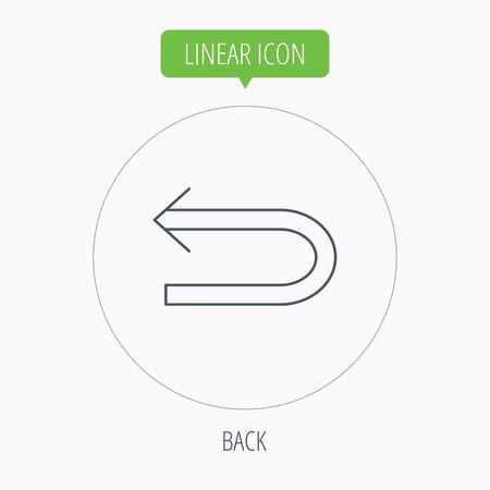 back arrow: Back arrow icon. Previous sign. Left direction symbol. Linear outline circle button. Vector