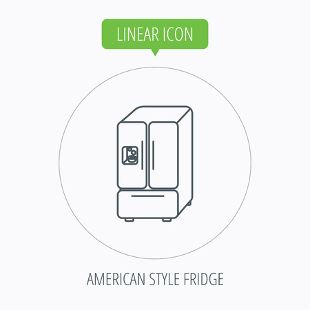 frig: American fridge icon. Refrigerator with ice sign. Linear outline circle button. Vector