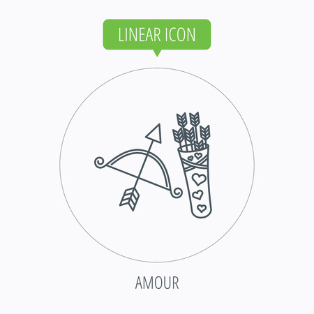 amour: Amour arrows and bow icon. Valentine weapon sign. Linear outline circle button. Vector