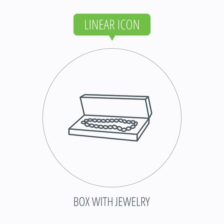 jewelry box: Jewelry box icon. Luxury precious sign. Linear outline circle button. Vector