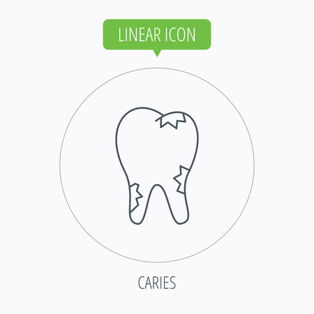 paradontosis: Caries icon. Tooth health sign. Linear outline circle button. Vector
