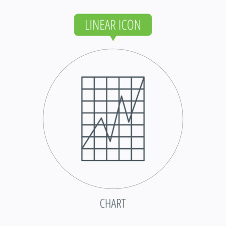 demand: Chart curve icon. Graph diagram sign. Demand growth symbol. Linear outline circle button. Vector Illustration