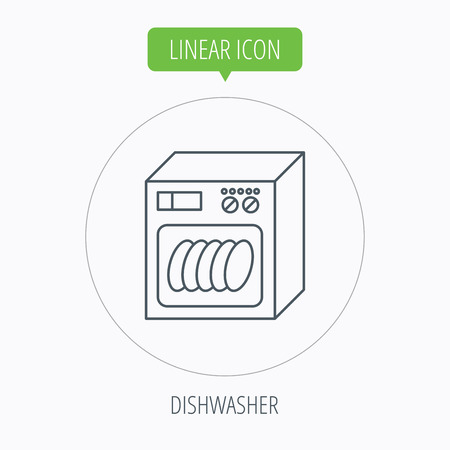 dishwasher: Dishwasher icon. Kitchen appliance sign. Linear outline circle button. Vector