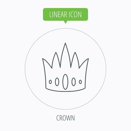vip symbol: Icono de la corona. Royal signo rey sombrero. S�mbolo VIP. Bot�n Lineal contorno c�rculo. Vector