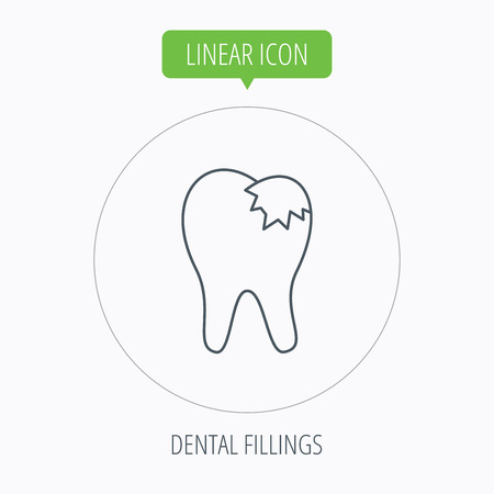 fillings: Dental fillings icon. Tooth restoration sign. Linear outline circle button. Vector Illustration