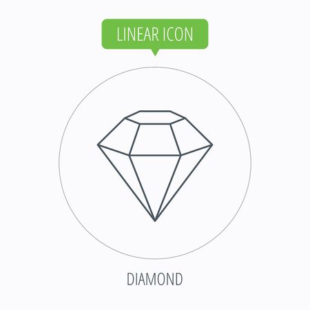 gemstone: Diamond icon. Brilliant gemstone sign. Linear outline circle button. Vector Illustration