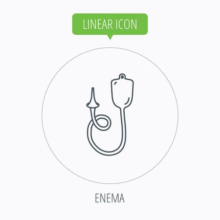 einlauf: Enema Symbol. Medical clyster Zeichen. Linear Umriss Kreis-Taste. Vector Illustration
