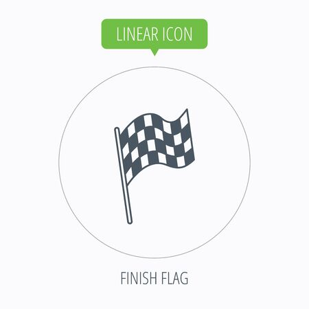 winning location: Finish flag icon. Start race sign. Linear outline circle button. Vector Illustration