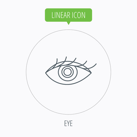 ophthalmology: Eye icon. Human vision sign. Ophthalmology symbol. Linear outline circle button. Vector Illustration