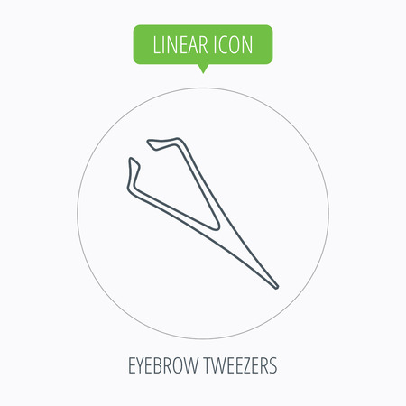 aesthetic: Eyebrow tweezers icon. Cosmetic equipment sign. Aesthetic beauty symbol. Linear outline circle button. Vector Illustration