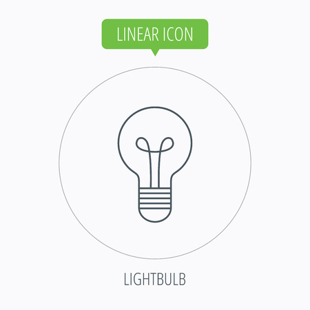 lamp outline: Lamp icon. Idea and solution sign. Linear outline circle button. Vector