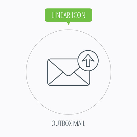 outbox: Mail outbox icon. Email message sign. Upload arrow symbol. Linear outline circle button. Vector Illustration