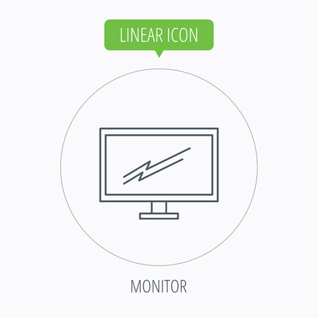 pc monitor: PC monitor icon. Led TV sign. Widescreen display symbol. Linear outline circle button. Vector Illustration