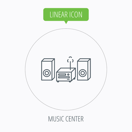 cd recorder: Music center icon. Stereo system sign. Linear outline circle button. Vector Illustration